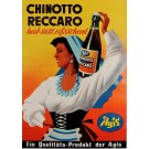 "Original Vintage German Poster ""Chinotto Reccaro  by Agis"" Herbal Drink ca. 1950"