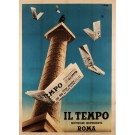 Italian Vintage Poster for Il Tempo The Italian Newspaper