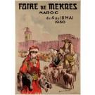 "Original Vintage French Travel Poster ""Faire de Mekres"" Marocco Orientalism 1930"