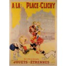"""Original Vintage French Poster for """"La Place Clichy"""" Maurice Newmont ca. 1900"""