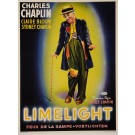 "Original Vintage French Movie Poster for ""Limelight"" Charlie Chaplin Charlot"