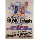 "Original Vintage French Children Poster for ""Secours National"" After G. Bouret ca. 1940"