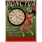 "Original Vintage French Posters for ""Ponctua"" Watch 1910's"