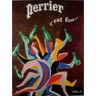 "Original Vintage French Poster for ""Perrier"" by Bernard Villemot 1970-80's"