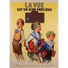 "Original Vintage French Poster Advertising ""La Vue"" S.O.F Oprometrist Signed"