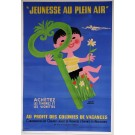 "Original Vintage OVERSIZE French Poster ""Jeunesse Au Plein Air"" By Herve Morvan ca. 1950"