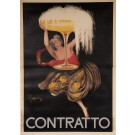 "Original Vintage Italian Alcohol OVERSIZE Poster for ""Contratto"" Champagne by Cappiello 1922"
