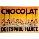 "Original Vintage French OVERSIZE 2 PARTS Poster for ""Chocolat Delespaul-Havez"" ca. 1900"