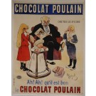 "Original Vintage French OVERSIZE 2 PARTS Poster for ""Chocolat Poulain"" by H. Gerbault ca. 1900"