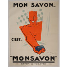 "Original Vintage French OVERSIZE 4 PARTS Poster for ""MONSAVON"" by Jean Carlu 1925"