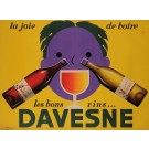 "Original Vintage French Poster Advertising ""Davesne"" Vins Wine by AR 1950's"