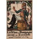 "Original Vintage French Poster Advertising ""Les Vins De Bourgogne"" by G. Arnoux ca. 1900"