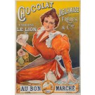 "Original Vintage French Poster Advertising ""Chocolat Dehaize"" ca. 1900"