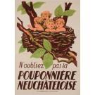"Original Vintage French Children Poster ""Pouponniere Neuchateloise"" 1940's"