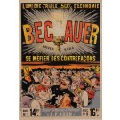 "Original Vintage French Poster for ""Bec Auer"" Lightbulbs by Oge ca. 1897"