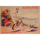 "Original Vintage French Transporatation Poster ""Bicycelettes & Tricycles"" by Oge ca. 1900"