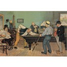 Original Vintage French Lithograph for a Billiard Game by Oge ca. 1900