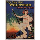 "Original Vintage French Poster for ""Waterman"" Pen by Oge 1919"