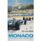 Vintage LATE PRINT Poster for 24th Grand Prix de Monaco Race by Turner 1966