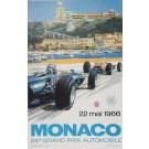 Vintage LATE PRINT Poster 24th Grand Prix de Monaco Race by Turner 1966