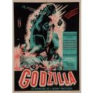 """Original Vintage French Movie Poster for """"GODZILLA / LE MONSTRE DE L'OCÉAN PACIFIQUE"""" by POUCEL 1957"""