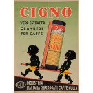 "Original Vintage Italian Coffee Poster for ""Cigno"" African Children Swan 1951"