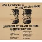 """Original Vintage French Student Revolution Poster """"Non aux Bidon Villes"""" 1968"""