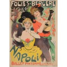 "Original Vintage French Poster for ""Folies Bergere - NAPOLI"" by Grun 1901"