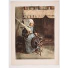"""Original Vintage French Lithograph ONLY L'Estampe Moderne N.23 """"L'Aïeule"""" GRANES"""