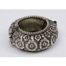 Antique Vintage Islamic Silver Bracelet Flowers Relief
