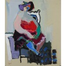 "Original Painting Acrylic on Canvas ""Seated Woman"" by Tarkay 1985 RARE!!"