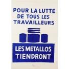 "Original Vintage French Student Revolution Poster ""Les Metallos Tiendront"" 1968"