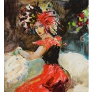 """Original Acrylic Painting """"Seated Lady"""" Signed by S. Francis"""