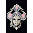 Vintage Costume Jewelry Enamel and Rhinestones Mask Brooch pin