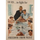 "Original Vintage Poster for ""Freedom from Want"" by Norman Rockwell 1943"