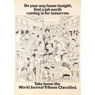 Original Vintage Poster Advertising World Journal Tribune by Poom 1967