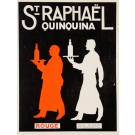 "Original Vintage small French Print ""Quinquina Rouge Blanc"" St Raphael Aperitif 1930's"