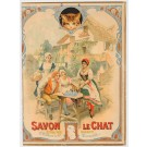 """Original Vintage French Advertising Poster """"Savon Le Chat"""" Sold """"AS IS"""""""