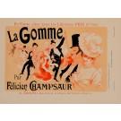 "Original Vintage French Litho La Gomme ""Les Affiches Illustrees"" by Cheret 1890"