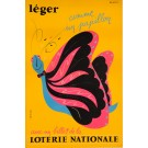 "Original Vintage Loterie Nationale Poster ""Léger "" Max Dufour"
