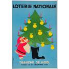 """Original Vintage Loterie Nationale Poster """"Tranche de NOEL"""" by Fix Masseau 50's"""