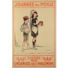"Original Vintage French WWI Propaganda Poster ""Journe du Poilu"" by Francisque Poulbot  1915"