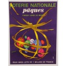 """Original Vintage French Loterie National """"Easter"""" by Lefort ca.1950"""
