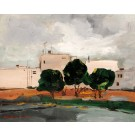 """Signed Painting Acrylic on Canvas by Chaim Rosenthal """"White Buildings"""" 1990's"""