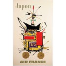 """Original French Poster """"Air France Japon"""" Japan by MATHIEU GEORGES 1960's"""
