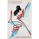 """Original French Poster """"Air France Canada"""" by MATHIEU GEORGES 1960's"""