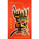 """Original Vintage French Travel Poster for """"Air France Mexico"""" by  Mathieu Georges 1960's"""