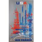 """Original French Poster """"Air France USA"""" by MATHIEU GEORGES 1960's"""