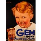 """Original Vintage  Poster for Food Product """"Gem"""" by Bourdier"""