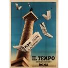 Italian Vintage Poster for Il Tempo The Italian Newspaper
